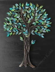 Spring Tree quilling// decorative wall art //tree home decor // green tree quilling art on canvas // Quilled wallpiece//paper filigree - Bäume - glaskunst Arte Quilling, Paper Quilling Patterns, Origami And Quilling, Quilled Paper Art, Quilling Paper Craft, Tree Wall Decor, Tree Wall Art, Wall Art Decor, Art Sur Toile