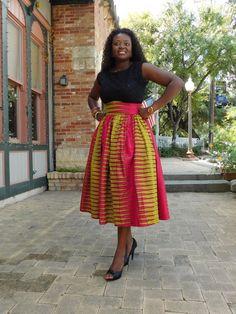NEW Pink Yellow African Ankara Midi skirts by MsAlabaAfricanShop