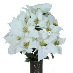 White Poinsettia Silk Flower Bouquet with Stay-In-The-Vase® Design Flower Holder(MD1174) ** Read more reviews of the product by visiting the link on the image.