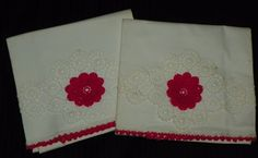 Gorgeous Vintage Pillowcases with Hot Pink Posie Crocheted Insert and Trim