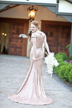 Find the perfect mermaid-silhouette wedding gown. You could opt for one with scale-like sequins…