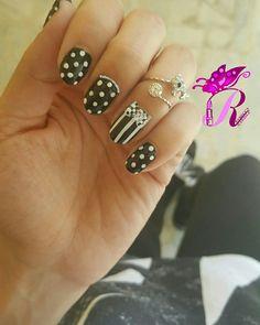 هذه #أظافر اليوم  Another look at my Black and White Polka Dots and Stripes Nails with a Cute Bow using Golden Rose-Rich Color #35 and Golden Rose-Paris #04 matching my OOTD