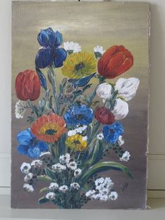 Vintage French Stunning Oil On Board Floral by VintageFrenchFinds, $105.00