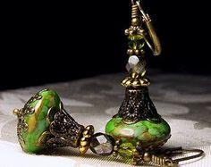 Lime Green Jeannie Bottle Earrings I Dream of Jeannie Peridot Olive Genie Steampunk Drops Antique Brass Filigree Titanic Temptations Jewelry