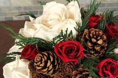Winter Wedding Bouquet Rustic Wedding by SmokyMtnWoodcrafts, $195.00