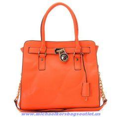 Authentic Michael Kors Hamilton Leather Bags Orange