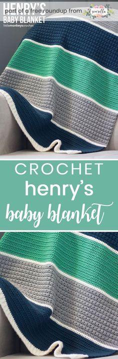 Crochet this easy beginner friendly striped boys baby blanket from Little Monkeys Crochet from my crochet baby blankets for boys free pattern roundup!
