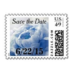 Romantic Blue Peony Save The Date Postage Stamps. Customized with your own dates or text. Dress up wedding, shower, engagement party, vow renewal, anniversary, and other party save-the-dates. Available in horizontal or vertical format, in a variety of colors and denominations for various size and weight mailings, and other matching products for a coordinated event. #blue #peony #peonies #stamps #save #the #date #savethedate #dates #customizable #floral #flower