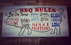 Just in time for summer, bbq rules sign perfect for the deck or porch decor. Rustic Signs, Wooden Signs, Bbq Shop, Bbq Signs, Bbq Catering, Smoke Bbq, Sign Stencils, Bbq Area, Restaurant Interior Design