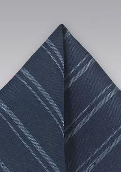 Einstecktuch Streifen Linnen navyblau