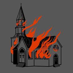 Burning church, Halloween, flame, tattoo, drawing, illustration, screen print, satanic, demonic, Olivia storm, itsmeoliviastorm.com