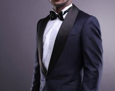 midnight blue velvet wedding suits   Men's Midnight blue Tuxedo, eve ning suit, dinner suit custom made by ...