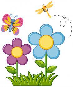 Butterfly and dragonfly in flower garden illustration , . Beautiful Gardens, Beautiful Flowers, Gardening Photography, Garden Illustration, Fruit Illustration, Cartoon Flowers, Garden Drawing, Gardening For Beginners, Summer Garden