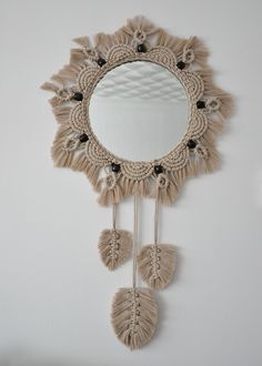 Macrame Mirror, Crochet Earrings, Mandala, Interior Decorating, Feather, Colours, Beads, Detail, Unique Jewelry