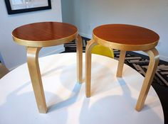 Pair of Artek Alvar Aalto teak top mid century stools by plastolux