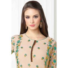 Wedding shop, Churidar georgette prom plus size suits, Beige resham embroidered outfit now in shop. Andaaz Fashion brings latest designer ethnic wear collection in UK