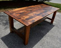 Square Farmhouse Table with Reclaimed Barn by WoodenWhaleWorkshop