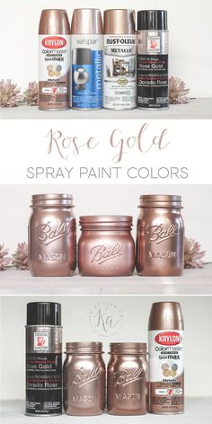 Krylon, Design Master and Rust-oleum colors sample. Krylon, Design Master and Rust-oleum colors sample… Rose gold spray paint colors. Krylon, Design Master and Rust-oleum colors samples. Spray Paint Colors, Gold Spray Paint, Spray Painting, Spray Paint Mason Jars, Painting Mason Jars, Krylon Spray Paint, Glitter Mason Jars, Paint Colours, Makeup Organization