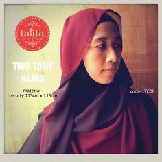 Two Tone : Dark Brown & Dark Red - square #hijab