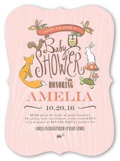 Baby Shower Invitation: Woodland Party Girl, Bracket Corners, Pink
