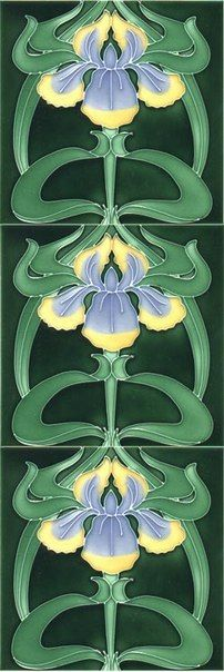 Art nouveau tile, given the vertically, was probably designed for use as a fireplace surround. Art Nouveau Tiles, Art Nouveau Design, Design Art, Motifs Art Nouveau, Azulejos Art Nouveau, Arts And Crafts Movement, Tile Art, Mosaic Art, Jugendstil Design