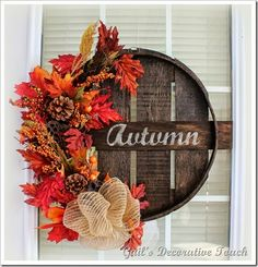 bushel basket lid, stained, stenciled and decorated for fall.....Gail's Decorative Touch
