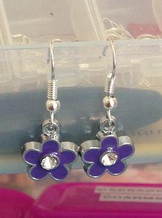 Purple flower earrings stoned flower charm by BrowniesCRAFTBOX