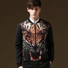 mens tiger bomber jacket stand collar XXXXXL plus size