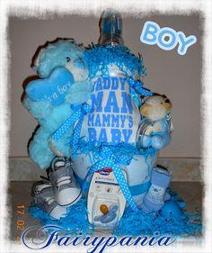 new born diaper cake blue teddy bear
