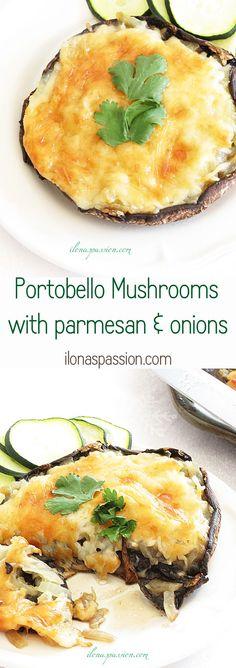 Healthy Stuffed Portobello Mushrooms with parmesan and onions by ilonaspassion.com