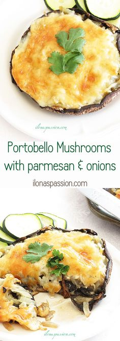 Healthy Stuffed Portobello Mushrooms with parmesan and onions by ilonaspassion.com