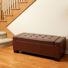 817056010361 Rothwell Henna Leather Storage Ottoman Full View in Room