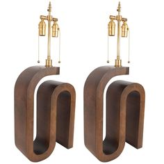 Pair of Curvilinear Wood Table Lamps