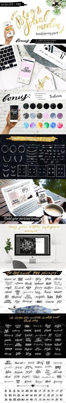 Blog Social Media Handlettering Pack. Photoshop Textures