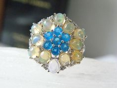 New Ross Simons Sterling Silver Ethiopian Opal Natural Apatite Cluster Ring 6 #RossSimons #Cocktail #BirthdayAnniversaryChristmasValentinesDay