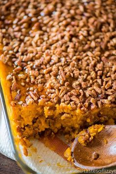 Paleo sweet potato casserole is a healthy twist on a traditional side dish. Creamy sweet potatoes with a cinnamon pecan topping.