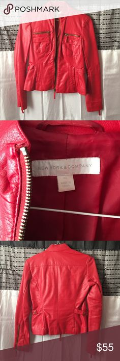Leather jacket size XS Beautiful Red leather jacket from New York and company. Size xs in great condition ! new york and company  Jackets & Coats