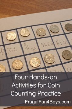Four hands-on ways to practice counting coins, only need paper, pencils, and coins!
