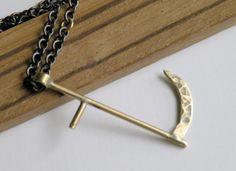 Brass Scythe Necklace by HeroKing on Etsy