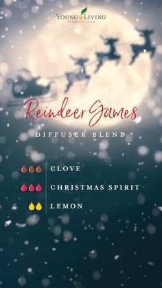 YL Reindeer Games Diffuser Blend 'Tis the season for snowmen, sleigh bells, and all things Christmas! Bring on the holidays with these 12 essential oil diffuser blends!