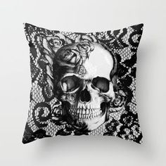 Rose skull on black lace base. Throw Pillow by Kristy Patterson Design