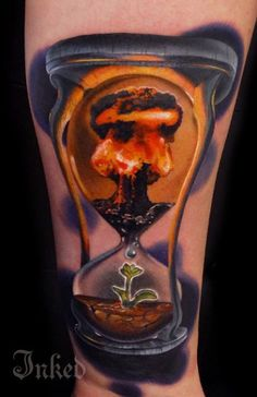 Hourglass by Andrés Acosta #InkedMagazine #life #destruction #hourglass #tattoo #tattoos #inked #ink