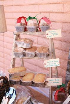 Step stool good for tabletop display of baked goods