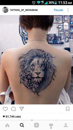 Lion Tattoo Hmm … I wonder if I can add flowers to my tiger … - Tattoo-Ideen Leo Tattoos, Future Tattoos, Animal Tattoos, Body Art Tattoos, Sleeve Tattoos, Girl Tattoos, Tatoos, Trendy Tattoos, Small Tattoos