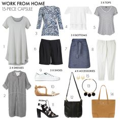 If you work from home it's very easy to fall into a daily wardrobe rut. Use this 15-piece work from home summer capsule wardrobe to mix things up.