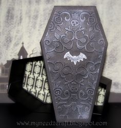 Terri's version of the Coffin-shaped Box from the ELMHURST HOLLOW SVG KIT, is ready for some spooky treats!  Love how she changed out the front!