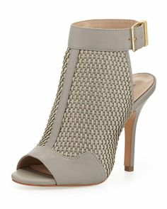 York Woven Leather Bootie, Light Gray by Pour la Victoire at Neiman Marcus.