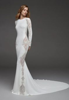 Lace wedding dress with sleeves - Lace wedding dress is one of a kind of wedding dresses which is favorite by many people. As its name, the lace fabric is used to made all the different styles of the wedding dress. You can get a lace wedding dress wi. Boho Wedding Guest Dress, Lace Wedding Dress With Sleeves, Long Sleeve Wedding, Long Wedding Dresses, Elegant Wedding Dress, Bridal Dresses, Dresses With Sleeves, Mermaid Dresses, The Dress