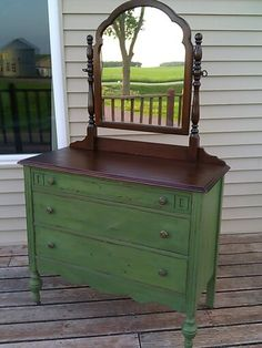 Miss Mustard Seed Milk Paint. Color Boxwood. Dresser makeover!