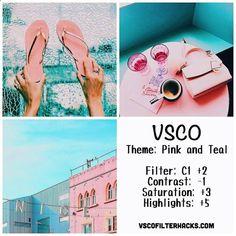 Alimentação Instagram de rosa e cerceta usando o filtro VSCO C1